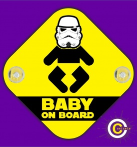 cartel bebé trooper a bordo